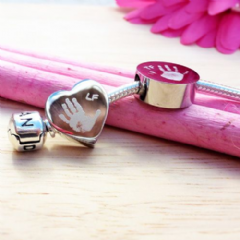 Engraved Charm Bead - Handprint or Footprint